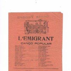 Catálogos de Música: CANCIONERO ANTIGUO 2 HOJAS L'EMIGRANT. Lote 50595358
