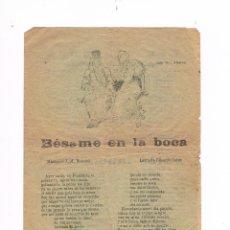 Catálogos de Música: CANCIONERO ANTIGUO 2 HOJAS BÉSAME EN LA BOCA IMPRENTA DOU. Lote 50595539
