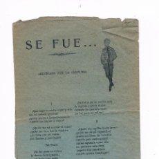 Catálogos de Música: CANCIONERO ANTIGUO 2 HOJAS SE FUE. Lote 50595593