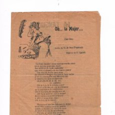 Catálogos de Música: CANCIONERO ANTIGUO 2 HOJAS OH LA MUJER INDUSTRIAS GRÁFICAS OLYMPIA. Lote 50595655