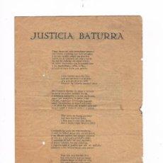 Catálogos de Música: CANCIONERO ANTIGUO 2 HOJAS JUSTICIA BATURRA. Lote 50595686