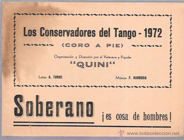 LIBRETO FOLLETO DE CARNAVAL. AÑO 1972. CORO. LOS CONSERVADORES DEL TANGO. CADIZ. (Música - Catálogos de Música, Libros y Cancioneros)