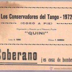 Catálogos de Música: LIBRETO FOLLETO DE CARNAVAL. AÑO 1972. CORO. LOS CONSERVADORES DEL TANGO. CADIZ.. Lote 51663061