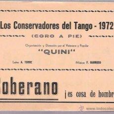 Catálogos de Música: LIBRETO FOLLETO DE CARNAVAL. AÑO 1972. CORO, LOS CONSERVADORES DEL TANGO. CADIZ.. Lote 51664599