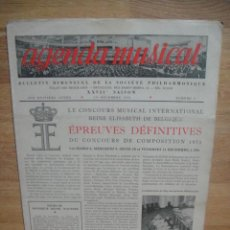 Catálogos de Música: AGENDA MUSICAL , SOCIEDAD FILARMONICA BELGA - AÑO XXVII , BOLETIN Nº 5 , DICIEMBRE 1953. Lote 52911632