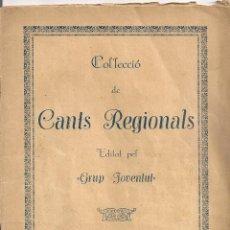 Catálogos de Música: COL.LECCIO DE CANTS REGIONALS. GIRONA : GRUP JOVENTUT, 1935. 22X16CM. 36 P.. Lote 53269250
