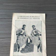 Catálogos de Música: COMPOSICIONES DE MÁS ÉXITO DEL RENOMBRADO DUO ARGENTINO SANCHEZ-FERRARO. Lote 54538321