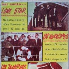 Catálogos de Música: ASI CANTA LONE STAR,LOS HURACANES Y LOS JAVALOYAS - CANCIONERO - EDITORIAL ALAS 1966. Lote 55918312