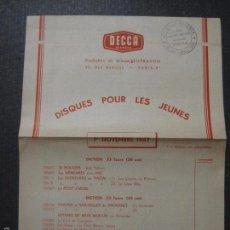 Catálogos de Música: CATALOGO DISCOS - DECCA - NOV 1957 - FRANCES - VER FOTOS Y MEDIDAS -( V- 5602). Lote 56893072