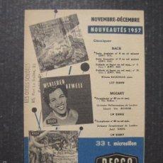 Catálogos de Música: CATALOGO DISCOS - DECCA -1957 - FRANCES - VER FOTOS Y MEDIDAS -( V- 5603). Lote 56893091