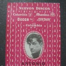 Catálogos de Música: CATALOGO DISCOS - ANTONIO - AÑO 1955- VER FOTOS Y MEDIDAS -( V- 5608). Lote 56893219