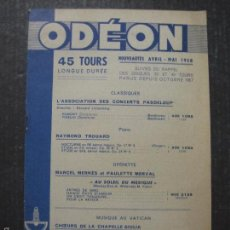 Catálogos de Música: CATALOGO DISCOS -ODEON - FRANCES - VER FOTOS Y MEDIDAS -( V- 5610). Lote 56893260