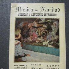 Catálogos de Música: CATALOGO DISCOS -NAVIDAD 1959 - VER FOTOS Y MEDIDAS -( V- 5611). Lote 56893272