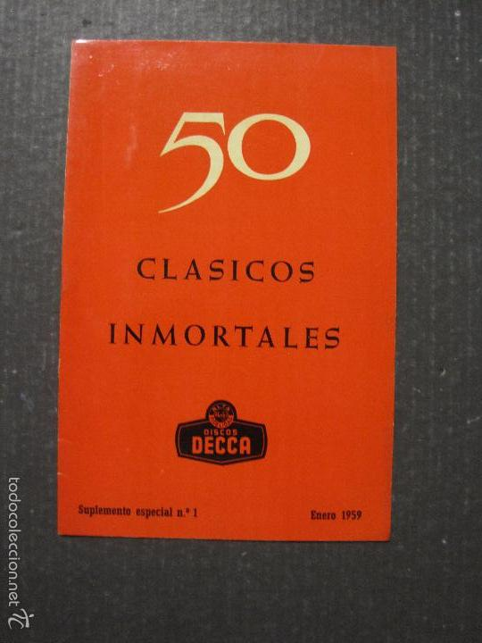 CATALOGO DISCOS DECCA - 50 CLASICOS INMORTALES ENERO 1959 - VER FOTOS Y MEDIDAS -( V- 5615) (Música - Catálogos de Música, Libros y Cancioneros)