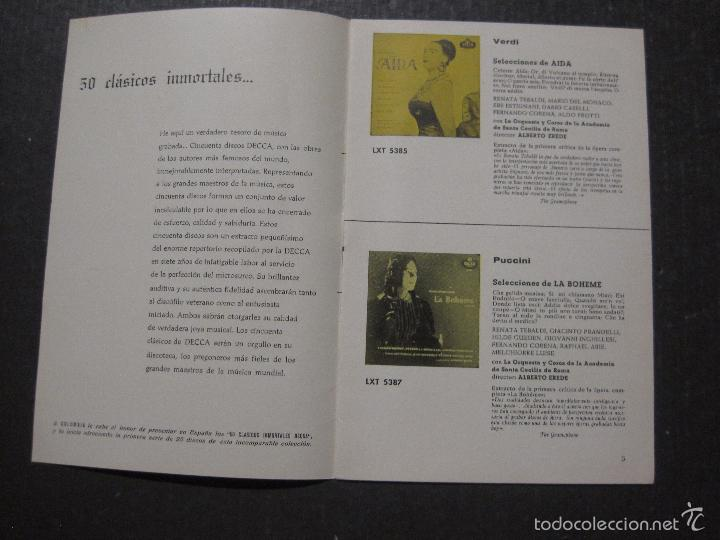 Catálogos de Música: CATALOGO DISCOS DECCA - 50 CLASICOS INMORTALES ENERO 1959 - VER FOTOS Y MEDIDAS -( V- 5615) - Foto 2 - 56893350