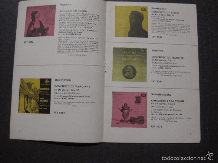 Catálogos de Música: CATALOGO DISCOS DECCA - 50 CLASICOS INMORTALES ENERO 1959 - VER FOTOS Y MEDIDAS -( V- 5615) - Foto 3 - 56893350