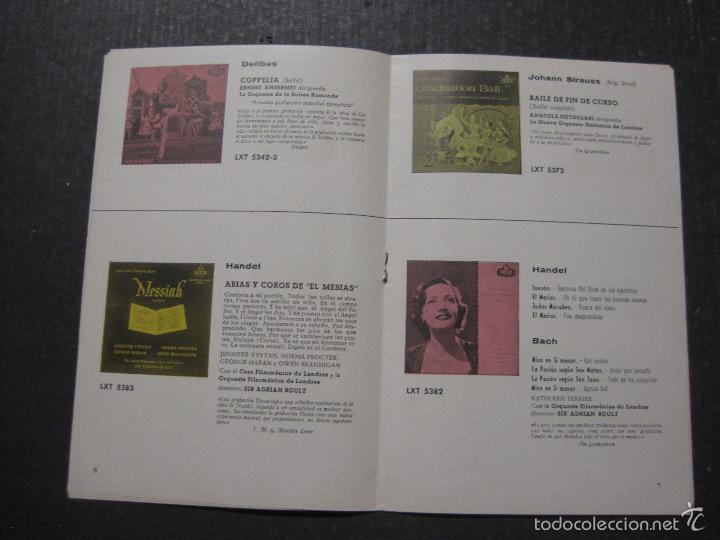 Catálogos de Música: CATALOGO DISCOS DECCA - 50 CLASICOS INMORTALES ENERO 1959 - VER FOTOS Y MEDIDAS -( V- 5615) - Foto 4 - 56893350