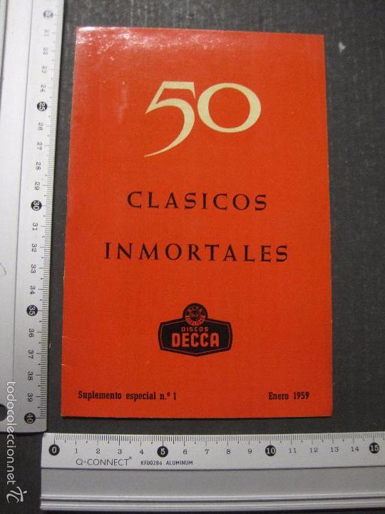 Catálogos de Música: CATALOGO DISCOS DECCA - 50 CLASICOS INMORTALES ENERO 1959 - VER FOTOS Y MEDIDAS -( V- 5615) - Foto 8 - 56893350