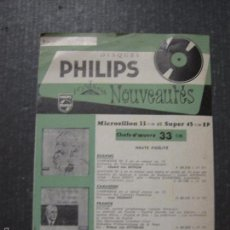 Catálogos de Música: CATALOGO DISCOS PHILIPS FRANCES - VER FOTOS Y MEDIDAS -( V- 5617). Lote 56893394