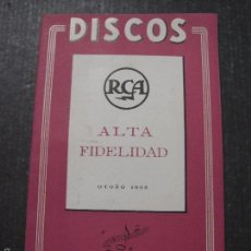 Catálogos de Música: CATALOGO DISCOS - RCA OTOÑO 1955 - VER FOTOS - (V-5640). Lote 56918645