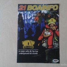 Catálogos de Música: BOAINFO Nº 21 - RAWKUS, MR RANGO, FRANK T, 7 NOTAS 7 COLORES, MOS DEF, ALIAS GALOR, ÑU, PORRETAS..... Lote 57256444
