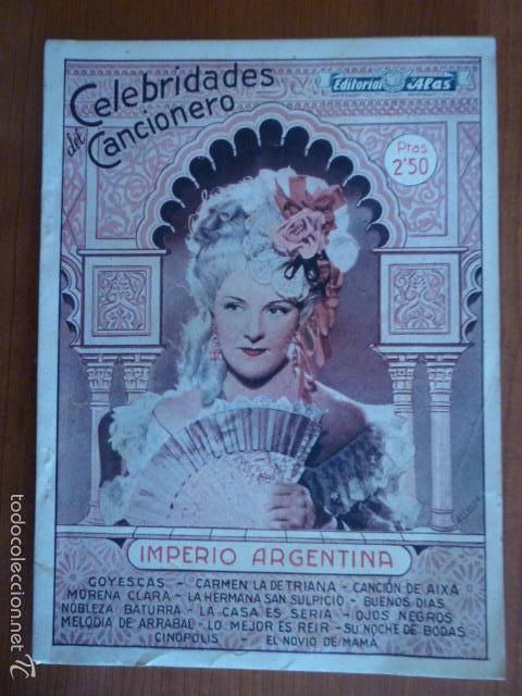 CELEBRIDADES DEL CANCIONERO IMPERIO ARGENTINA. NOVIEMBRE 1942 (Música - Catálogos de Música, Libros y Cancioneros)