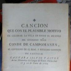 Catálogos de Música: CANCIÓN QUE CON EL PLAUSIBLE MOTIVO DE CELEBRAR LA VILLA DE TINEO EL ASCENSO, CONDE DE CAMPOMANES,. Lote 57986858