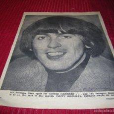 Catálogos de Música: POSTER DE THE BEATLES,GEORGE HARRISON ,AÑO 1966. Lote 58553151