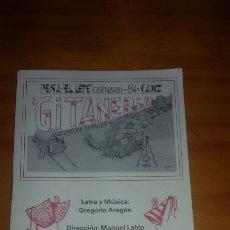 Catálogos de Música: CARNAVAL 1984 AGRUPACION FAMILIAR GITANERIA . Lote 60953549