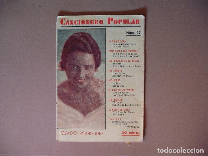 CANCIONERO POPULAR, OLVIDO RODRIGUEZ Nº 27 EDITORIAL ALAS, 1932 (Música - Catálogos de Música, Libros y Cancioneros)