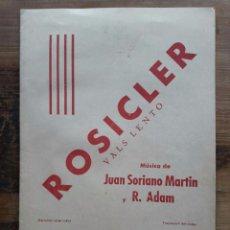 Catálogos de Música: ROSICLER / VALS LENTO / JUAN SORIANO MARTIN Y R. ADAM / ESTAMPACIÓN MAR-QUETS / BARCELONA. Lote 67006286