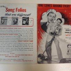 Catálogos de Música: CANCIONERO - JUNE COMES AROUND EVERY YEAR OUT OF THE WORLD BING CROSBY EDDIE BRACKEN ED.MORRIS NY. Lote 69956725