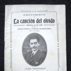 Catálogos de Música: AÑO 1916. ARGUMENTO DE LA CANCIÓN DEL OLVIDO. ZARZUELA.. Lote 72097839