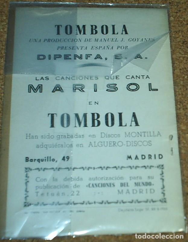Catálogos de Música: MARISOL TOMBOLA, CANCIONERO ORIGINAL 1962 LA POSTAL NO ES DE ESTE LOTE- LEER - Foto 3 - 75216019