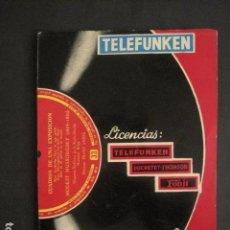 Catálogos de Música: CATALOGO GENERAL DE DISCOS - TELEFUNKEN-DUCRETET THOMSON-FONIT AÑO 1957-VER FOTOS-(V-10.587). Lote 83303536