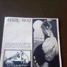 Catálogos de Música: LA VOZ DE SU AMO -SUPLEMENTO ABRIL 1932- LA REINA MORA - BUEN ESTADO. Lote 83779036