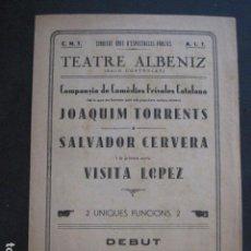 Catálogos de Música: GIRONA - GERONA - PRGRAMA TEATRE ALBENIZ - AÑO 1934- SALO CONTROLAT CNT - VER FOTOS - (V- 10.964). Lote 86301420