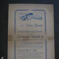 Catálogos de Música: ORFEO CATALA - CONCERT VOCAL - LLUIS MILLET - VER FOTOS - (V- 10.972). Lote 86310544