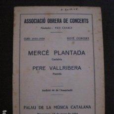 Catálogos de Música: PROGRAMA -ASSOCIACIO OBRERA CONCERTS -VER FOTOS-PALAU MUSICA CATALANA 1934- VEURE FOTOS -(V-11.240). Lote 87447724