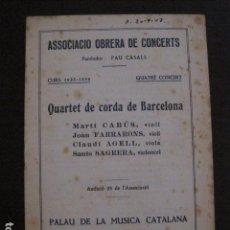 Catálogos de Música: PROGRAMA -ASSOCIACIO OBRERA CONCERTS -VER FOTOS-PALAU MUSICA CATALANA 1933- VEURE FOTOS -(V-11.243). Lote 87448024