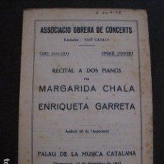 Catálogos de Música - PROGRAMA -ASSOCIACIO OBRERA CONCERTS -VER FOTOS-PALAU MUSICA CATALANA 1933- VEURE FOTOS -(V-11.244) - 87448108