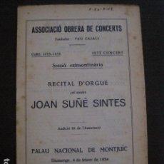 Catálogos de Música: PROGRAMA -ASSOCIACIO OBRERA CONCERTS -VER FOTOS-PALAU MUSICA CATALANA 1933- VEURE FOTOS -(V-11.245). Lote 87448556