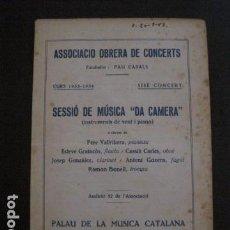Catálogos de Música: PROGRAMA -ASSOCIACIO OBRERA CONCERTS -VER FOTOS-PALAU MUSICA CATALANA 1934- VEURE FOTOS -(V-11.246). Lote 87448748