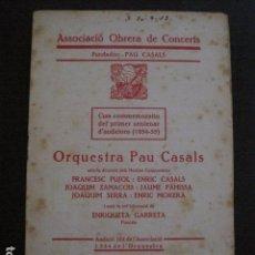 Catálogos de Música: PROGRAMA -ASSOCIACIO OBRERA CONCERTS -VER FOTOS-PALAU MUSICA CATALANA 1935- VEURE FOTOS -(V-11.255). Lote 87449996