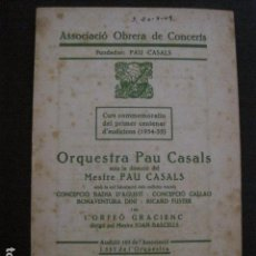 Catálogos de Música: PROGRAMA -ASSOCIACIO OBRERA CONCERTS -VER FOTOS-PALAU MUSICA CATALANA 1935- VEURE FOTOS -(V-11.257). Lote 87450156
