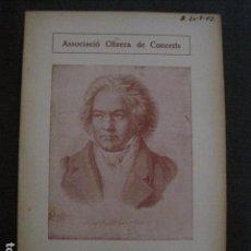 Catálogos de Música: PROGRAMA -ASSOCIACIO OBRERA CONCERTS -VER FOTOS-PALAU MUSICA CATALANA 1935- VEURE FOTOS -(V-11.258). Lote 87450248
