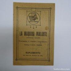 Catálogos de Música: LA MAQUINA PARLANTE: AGENCIA ODEON. SUPLEMENTO AGOSTO 1919. 14PP. 12X18 CMS. Lote 88632024