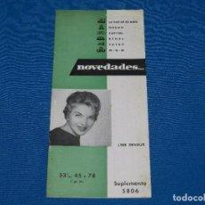 Catálogos de Música: CATALOGO DISCOS - LINE RENAUD SUPLEMENTO 5806 LA VOZ DE SU AMO , ODEON , CAPITOL , REGAL. Lote 92880645