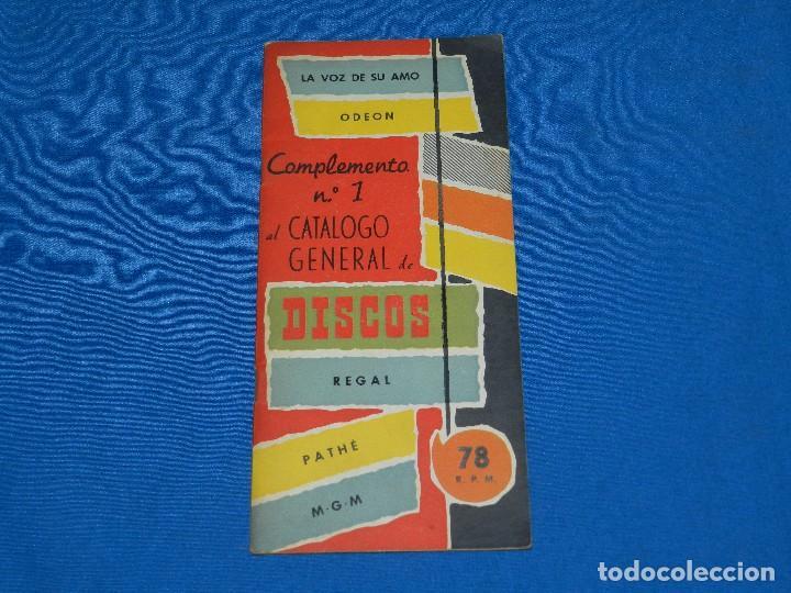 CATALOGO DISCOS - COMPLEMENTO N.1 AL CATALOGO GENERAL DE DISCOS REGAL, LA VOZ DE SU AMO, ODEON 1956 (Música - Catálogos de Música, Libros y Cancioneros)