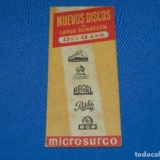 Catálogos de Música: CATALOGO DISCOS - NUEVOS DISCOS LARGA DURACION MICROSURCO 1955 LA VOZ DE SU AMO, REGAL, ODEON. Lote 92884995